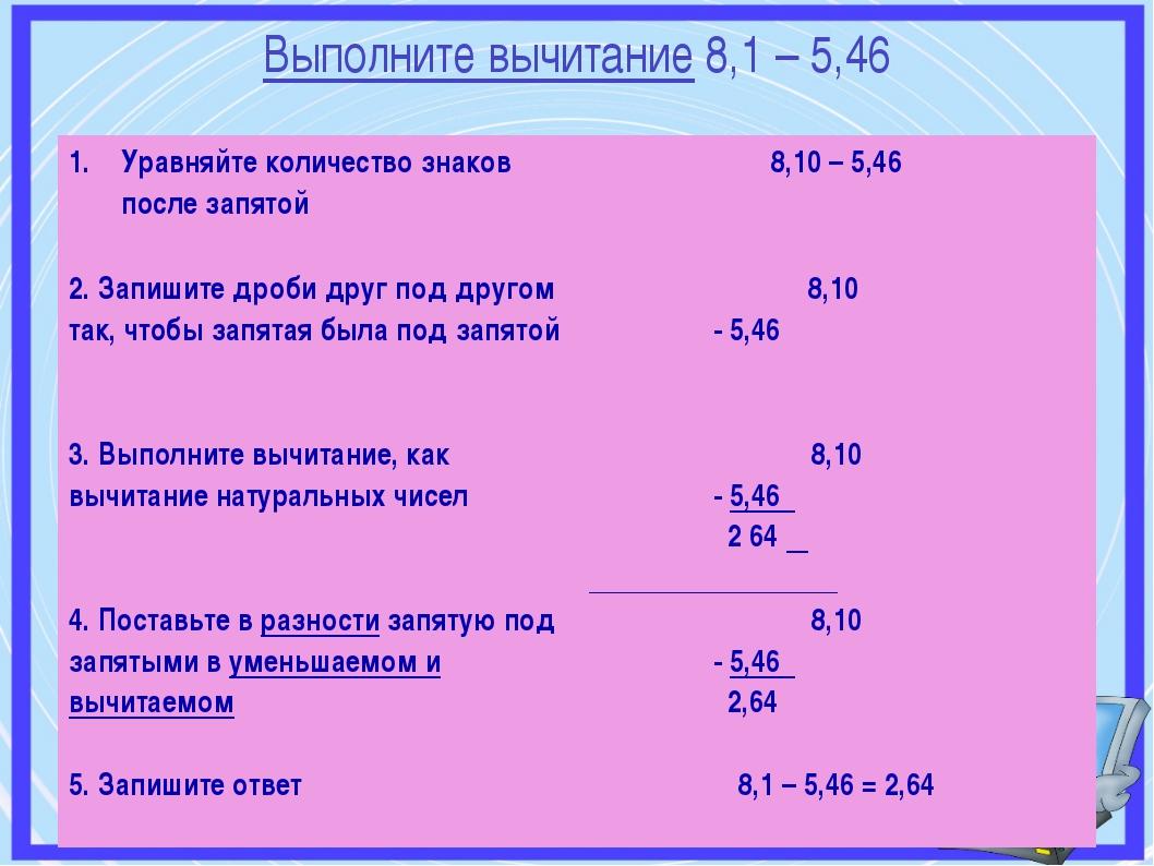 Выполните вычитание 8,1 – 5,46 Уравняйте количество знаков после запятой 8,1...