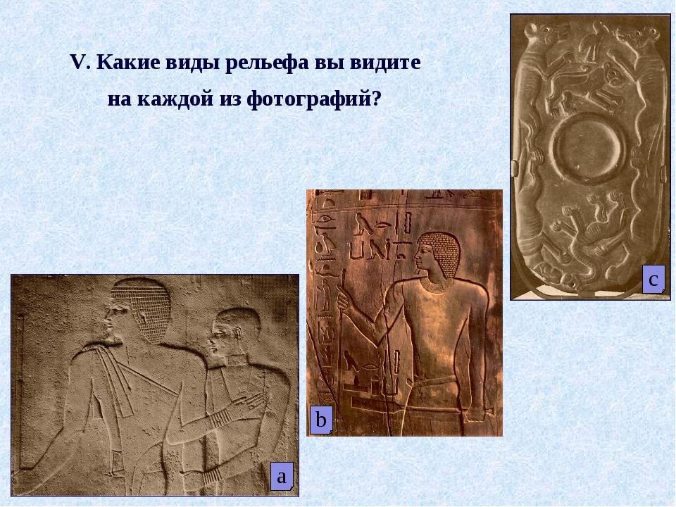 a V. Какие виды рельефа вы видите на каждой из фотографий? c b