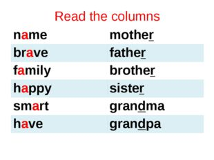 Read the columns name mother brave father family brother happy sister smart g