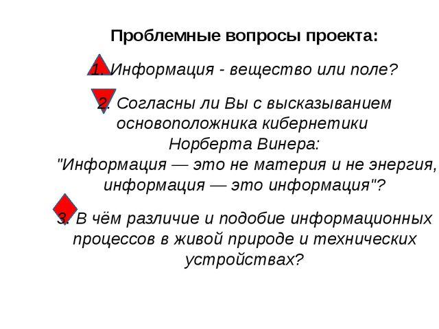 Проблемные вопросы проекта: 1. Информация - вещество или поле? 2. Согласны л...
