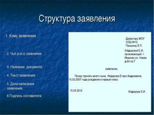 Структура заявления 1. Кому заявление 2. Чьё (кого) заявление 4. Текст заявле