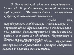 В Белгородской области сосредоточено более 40 % разведанных запасов железных