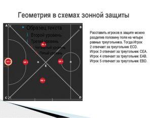 Геометрия в схемах зонной защиты Расставить игроков в защите можно разделив
