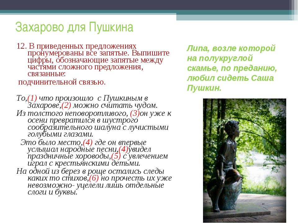 Захарово для Пушкина 12. В приведенных предложениях пронумерованы все запяты...