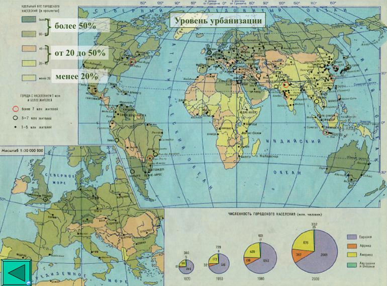 Уровень урбанизации. Карта мира