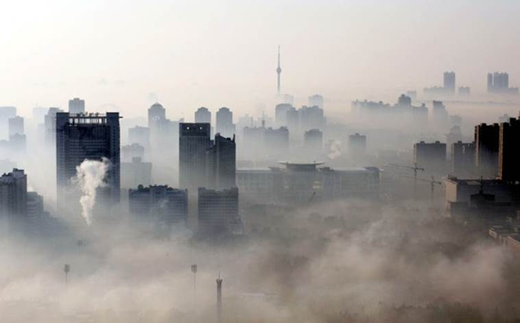 Смог над городом Ухань, Китай