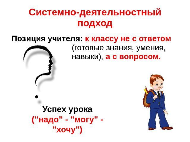 Системно-деятельностный подход Позиция учителя: к классу не с ответом (готовы...