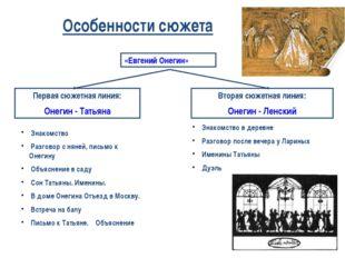 Особенности сюжета «Евгений Онегин» Первая сюжетная линия: Онегин - Татьяна