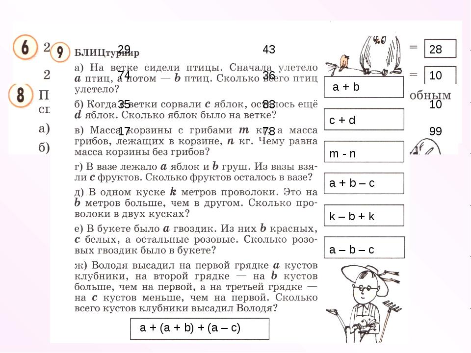 29 74 35 17 43 36 83 78 28 10 10 99 a + b c + d m - n a + b – c k – b + k a –...