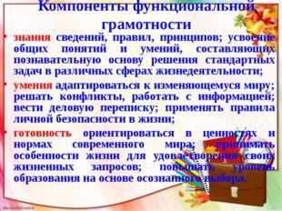 Компоненты функциональной грамотности знания сведений, правил, принципов; усв