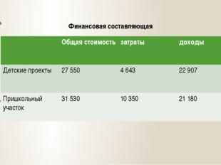Финансовая составляющая Общая стоимость затраты доходы Детскиепроекты 27 550