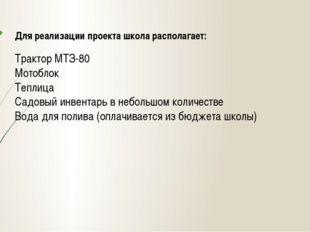 Для реализации проекта школа располагает: Трактор МТЗ-80 Мотоблок Теплица Сад