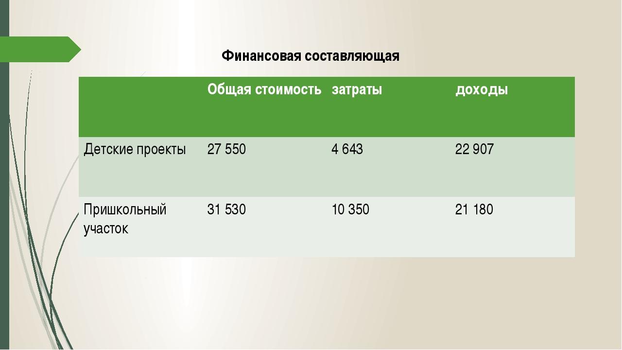 Финансовая составляющая Общая стоимость затраты доходы Детскиепроекты 27 550...