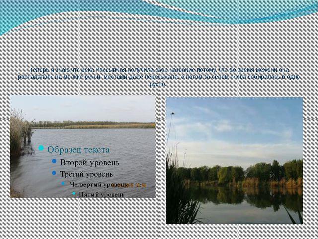 Теперь я знаю,что река Рассыпная получила свое название потому, что во время...
