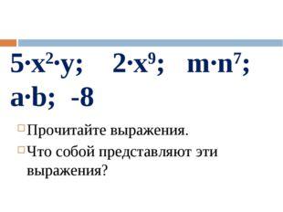 5·x2·у; 2·x9; m·n7; a·b; -8 Прочитайте выражения. Что собой представляют эти