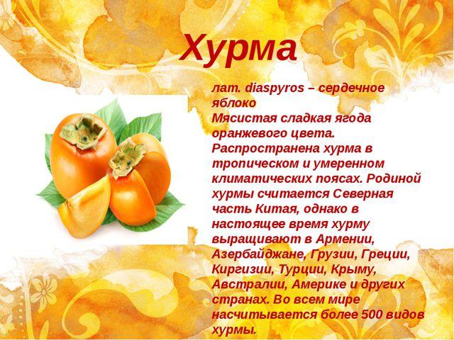 Хурма лат. diaspyros – сердечное яблоко Мясистая сладкая ягода оранжевого цве...