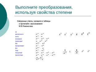 Выполните преобразования, используя свойства степени Найденные ответы, запиши