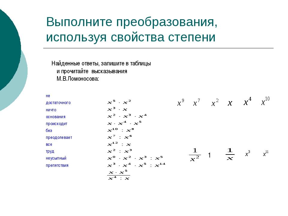Выполните преобразования, используя свойства степени Найденные ответы, запиши...