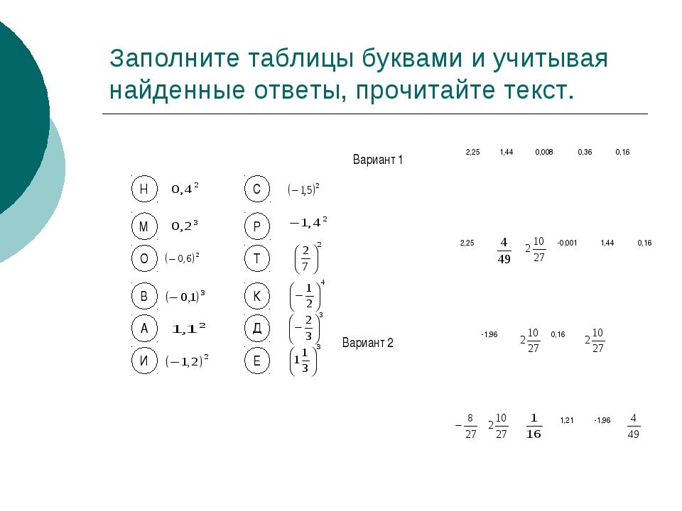 Заполните таблицы буквами и учитывая найденные ответы, прочитайте текст. Н М...