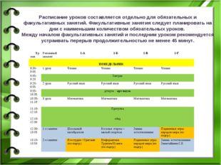 Расписание уроков составляется отдельно для обязательных и факультативных за