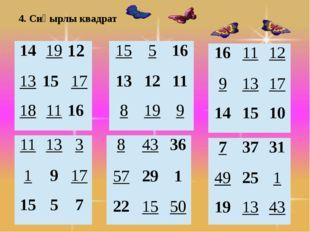 4. Сиқырлы квадрат 14 19 12 13 15 17 18 11 16 15 5 16 13 12 11 8 19 9 11 13 3