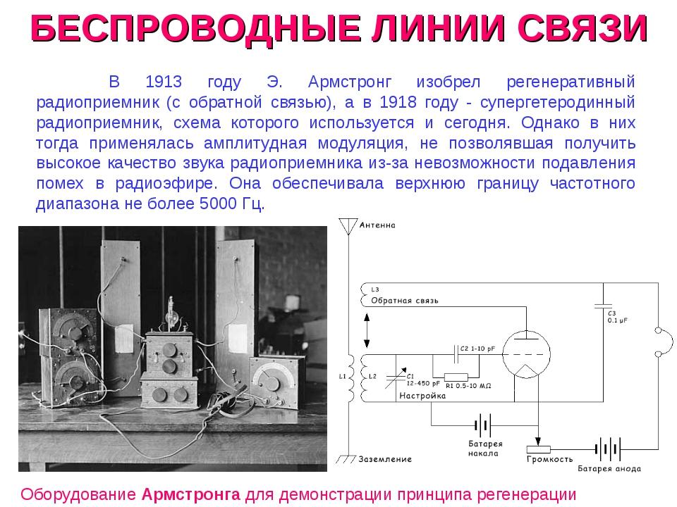 БЕСПРОВОДНЫЕ ЛИНИИ СВЯЗИ В 1913 году Э. Армстронг изобрел регенеративный ради...