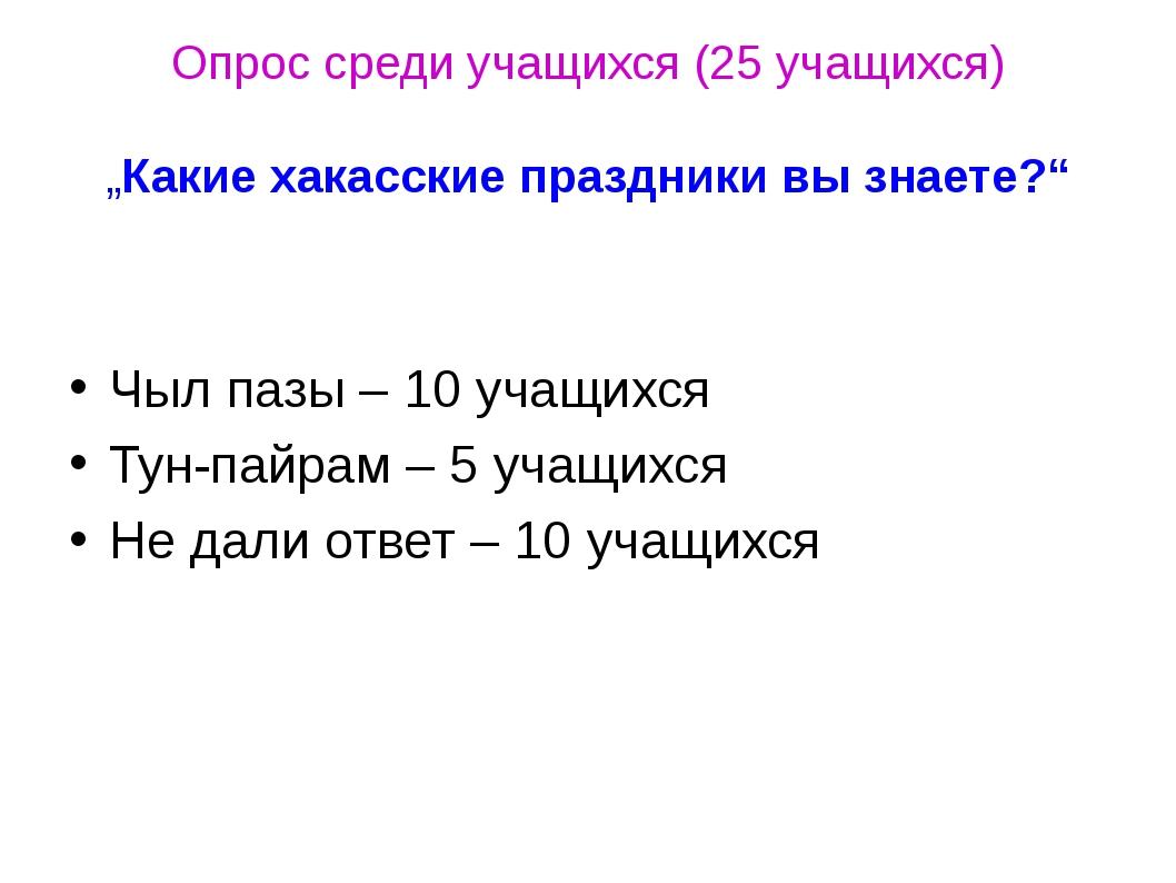 """Опрос среди учащихся (25 учащихся) """"Какие хакасские праздники вы знаете?"""" Чыл..."""