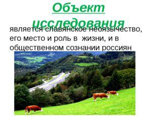 Объект исследования является славянское неоязычество, его место и роль в жизн