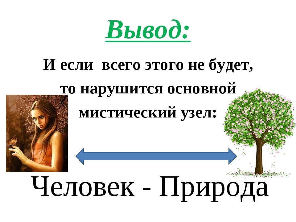 Вывод: И если всего этого не будет, то нарушится основной мистический узел: Ч...