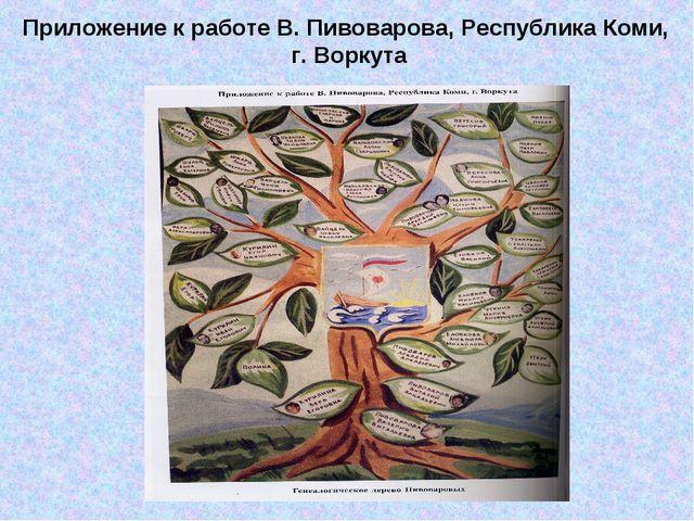 Приложение к работе В. Пивоварова, Республика Коми, г. Воркута