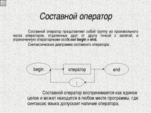 Составной оператор Составной оператор представляет собой группу из произволь