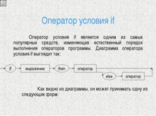 Оператор условия if Оператор условия if является одним из самых популярных с