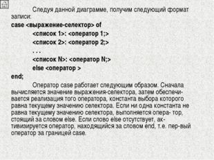 Следуя данной диаграмме, получим следующий формат записи: case  of :  :