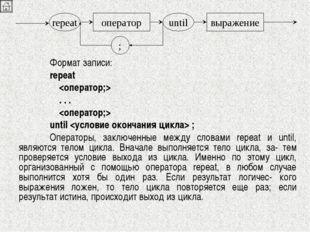 Формат записи: repeat    . . .   until  ; Операторы, заключенные между