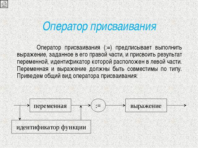 Оператор присваивания Оператор присваивания (:=) предписывает выполнить выра...