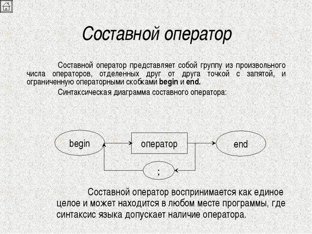 Составной оператор Составной оператор представляет собой группу из произволь...