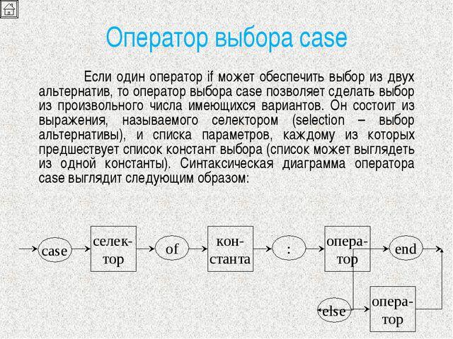 Оператор выбора case Если один оператор if может обеспечить выбор из двух ал...