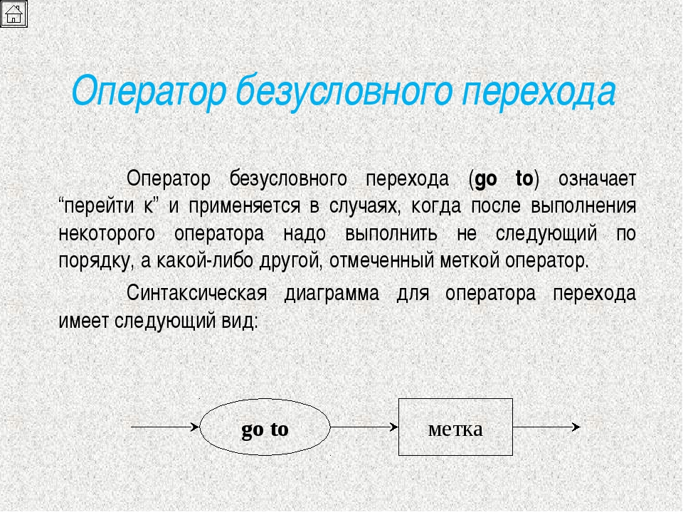 Оператор безусловного перехода Оператор безусловного перехода (go to) означа...