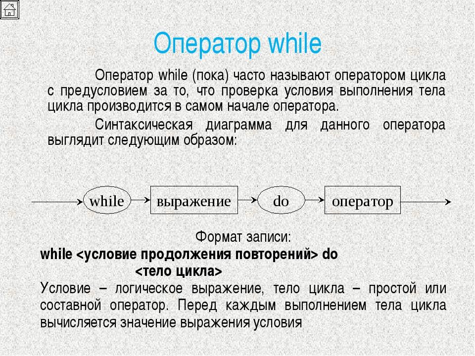 Оператор while Оператор while (пока) часто называют оператором цикла с преду...