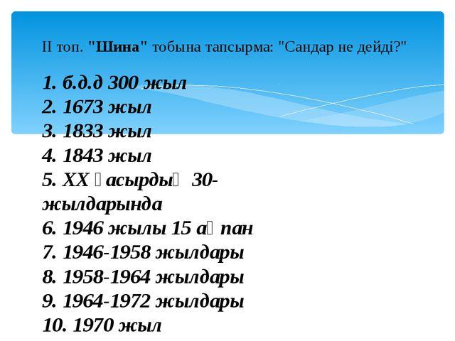 """ІІ топ. """"Шина"""" тобына тапсырма: """"Сандар не дейді?"""" 1. б.д.д 300 жыл 2. 1673 ж..."""