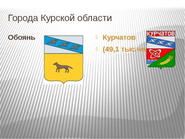 Города Курской области Курчатов (49,1 тыс.чел.) Обоянь