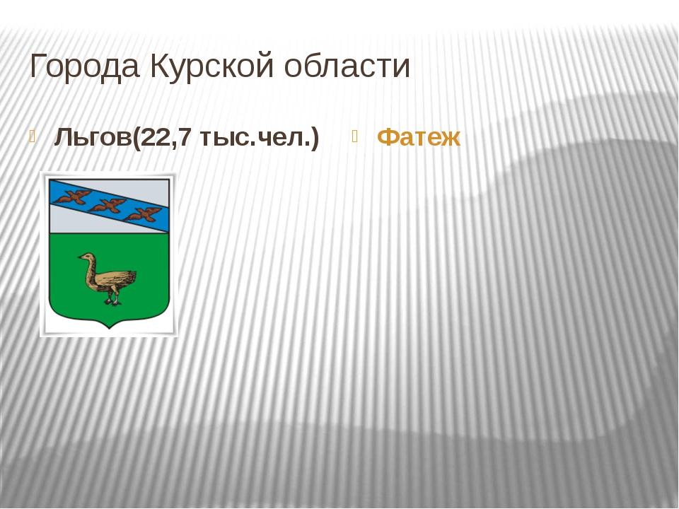 Города Курской области Льгов(22,7 тыс.чел.) Фатеж