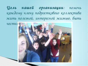 Цель нашей организации: помочь каждому члену подросткового коллектива жить по