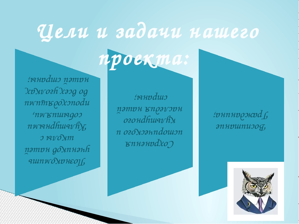 Цели и задачи нашего проекта: