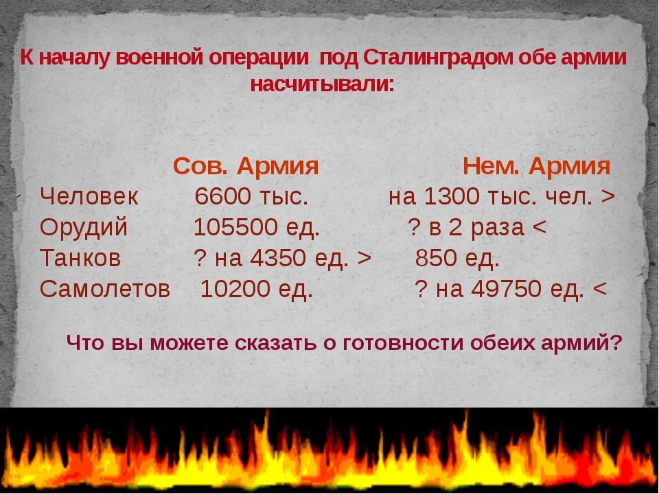 К началу военной операции под Сталинградом обе армии насчитывали: Сов. Армия...