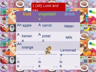 1 (48) Look and say apple Water carrot potato Milk Lemonade banana orange fr
