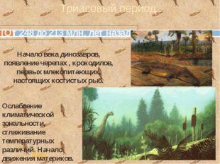 (От 248 до 213 млн. лет назад) Триасовый период Начало века динозавров, появл