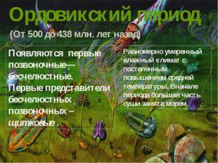 Ордовикский период (От 500 до 438 млн. лет назад) Появляются первые позвоночн