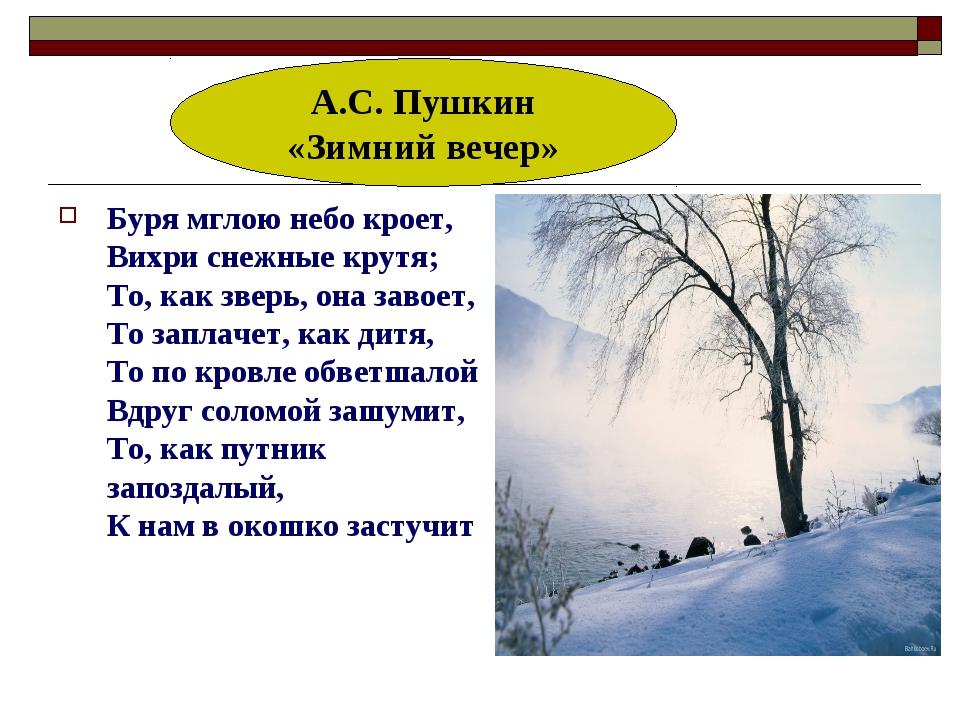 Буря мглою небо кроет, Вихри снежные крутя; То, как зверь, она завоет, То зап...