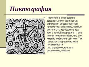 Пиктография Постепенно сообщество вырабатывало свои нормы отражения общеизвес
